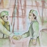 Генерал–майор И.В. Панфилов пен батальон командирі Бауыржан Момышұлы. Такенов Ерзат, 9 «А» сынып