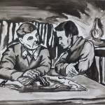 Бауыржан Момышұлы дивизия командирі И.В. Панфиловпен. Такенов Ерзат, 9 «А» сынып