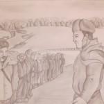 Батальон командирі Бауыржан Момышұлы және взвод командирі Брудный. Такенов Ерзат, 9 «А» сынып