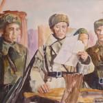Полк командирі Бауыржан Момышұлы батальон командирлерімен Крюковода. Руководитель проекта Сулейменов Олжас